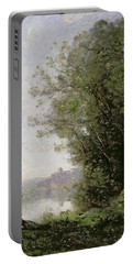 The Goatherd Beside The Water  Portable Battery Charger by Jean Baptiste Camille Corot