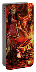 Portable Battery Charger featuring the painting The Goodess Pele Of Hawaii by James Christopher Hill