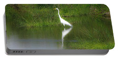 Great Egret By The Waters Edge Portable Battery Charger