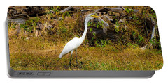 Egret Against Driftwood Portable Battery Charger