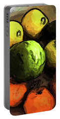 The Green And Gold Apples With The Orange Mandarins Portable Battery Charger