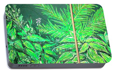 Portable Battery Charger featuring the painting The Green Flower Garden by Darren Cannell