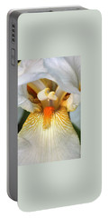 Portable Battery Charger featuring the photograph The Heart Of A Bearded Iris by Sheila Brown