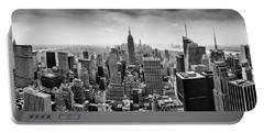 New York City Skyline Bw Portable Battery Charger by Az Jackson