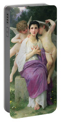 The Hearts Awakening Portable Battery Charger by William Adolphe Bouguereau