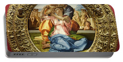 The Holy Family - Doni Tondo - Michelangelo - Round Canvas Version Portable Battery Charger