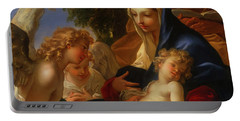 Portable Battery Charger featuring the painting The Holy Family With Angels by Seastiano Ricci