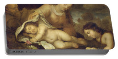 The Holy Family With Infant Saint John The Baptist Portable Battery Charger
