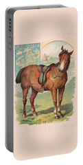 Portable Battery Charger featuring the painting The Horse Victorian Chromolithograph by Peter Gumaer Ogden