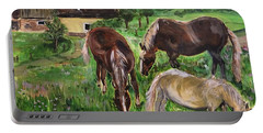 The Horses Of Larochemillay Portable Battery Charger by Belinda Low
