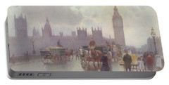 The Houses Of Parliament From Westminster Bridge Portable Battery Charger