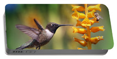 The Hummingbird And The Bee Portable Battery Charger by William Lee