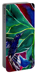 Portable Battery Charger featuring the painting The Hummingbird And The Trillium by Lil Taylor