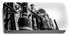 The Industrial Age At Bethlehem Steel In Black And White Portable Battery Charger by Bill Cannon