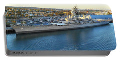 Portable Battery Charger featuring the photograph The Iowa At Sunset by Joe Kozlowski