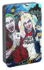 The Joker And Harley Quinn Portable Battery Charger by Michael Vanderhoof