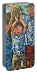 Portable Battery Charger featuring the painting The Joy Of Childhood by Belinda Low