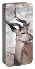 Portable Battery Charger featuring the digital art The Kudu Portrait by Ernie Echols