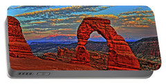 Portable Battery Charger featuring the photograph The La Sal Mountains And Arch by Scott Mahon