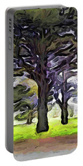 The Landscape With The Trees In A Row Portable Battery Charger