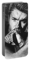 Portable Battery Charger featuring the painting The Late Great George Michaels by Darryl Matthews