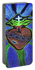 Portable Battery Charger featuring the drawing The Light Of The Sacred Heart by Lisa Brandel