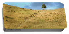 Portable Battery Charger featuring the photograph The Lines The Tree And The Hill by Yoel Koskas
