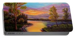 The Liquid Fire Of A Painted Golden Sunset Portable Battery Charger