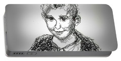 Portable Battery Charger featuring the drawing The Little Rapper by Denise Fulmer