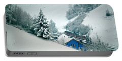 Portable Battery Charger featuring the photograph The Little Red Train - Winter In Switzerland  by Susanne Van Hulst
