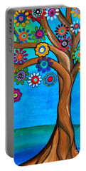 Portable Battery Charger featuring the painting The Loving Tree Of Life by Pristine Cartera Turkus
