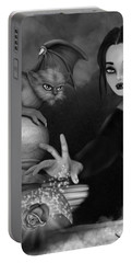 The Magic Rose - Black And White Fantasy Art Portable Battery Charger