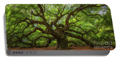 The Magical Angel Oak Tree Panorama  Portable Battery Charger by Michael Ver Sprill