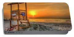 Portable Battery Charger featuring the photograph The Main Attraction Tybee Island Sunrise Lifeguard Stand Beach Art by Reid Callaway