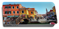 The Main Street On The Island Of Burano, Italy Portable Battery Charger