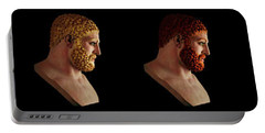 Portable Battery Charger featuring the mixed media The Many Faces Of Hercules by Shawn Dall