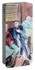 Portable Battery Charger featuring the painting The Market Parliament by Esther Newman-Cohen