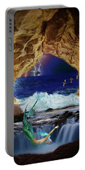 Portable Battery Charger featuring the digital art The Mermaids Secret Lair by John Haldane