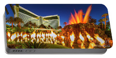 The Mirage Casino And Volcano Eruption At Dusk Portable Battery Charger