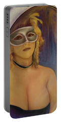 The Mirror And The Mask Portrait Of Kelly Phebus Portable Battery Charger by Ron Richard Baviello