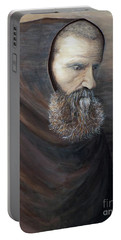 Portable Battery Charger featuring the painting The Monk by Judy Kirouac