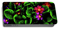 Portable Battery Charger featuring the digital art The Moody Primrose by Steve Taylor
