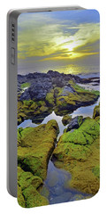 Portable Battery Charger featuring the photograph The Mossy Rocks At Sunset by Tara Turner