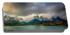 The Mountains On The Lake Portable Battery Charger by Andrew Matwijec