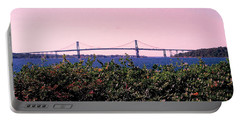 The Mt Hope Bridge Bristol Rhode Island Portable Battery Charger by Tom Prendergast