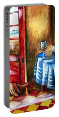 Portable Battery Charger featuring the painting The Mystery Room by Winsome Gunning