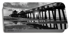 Naples Pier At Sunset Naples Florida Black And White Portable Battery Charger