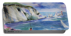 Portable Battery Charger featuring the painting The Needles Isle Of Wight In England  by Geeta Biswas