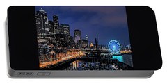 The Night Before Super Bowl Xlix, 2014, Seattle Waterfront Portable Battery Charger by Greg Sigrist
