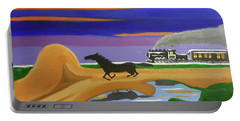 Portable Battery Charger featuring the painting The Night Race by Margaret Harmon